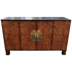 Burl Wood Credenza with Brass Hardware