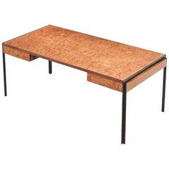 Burlwood Desk with Bronze Frame, 1970