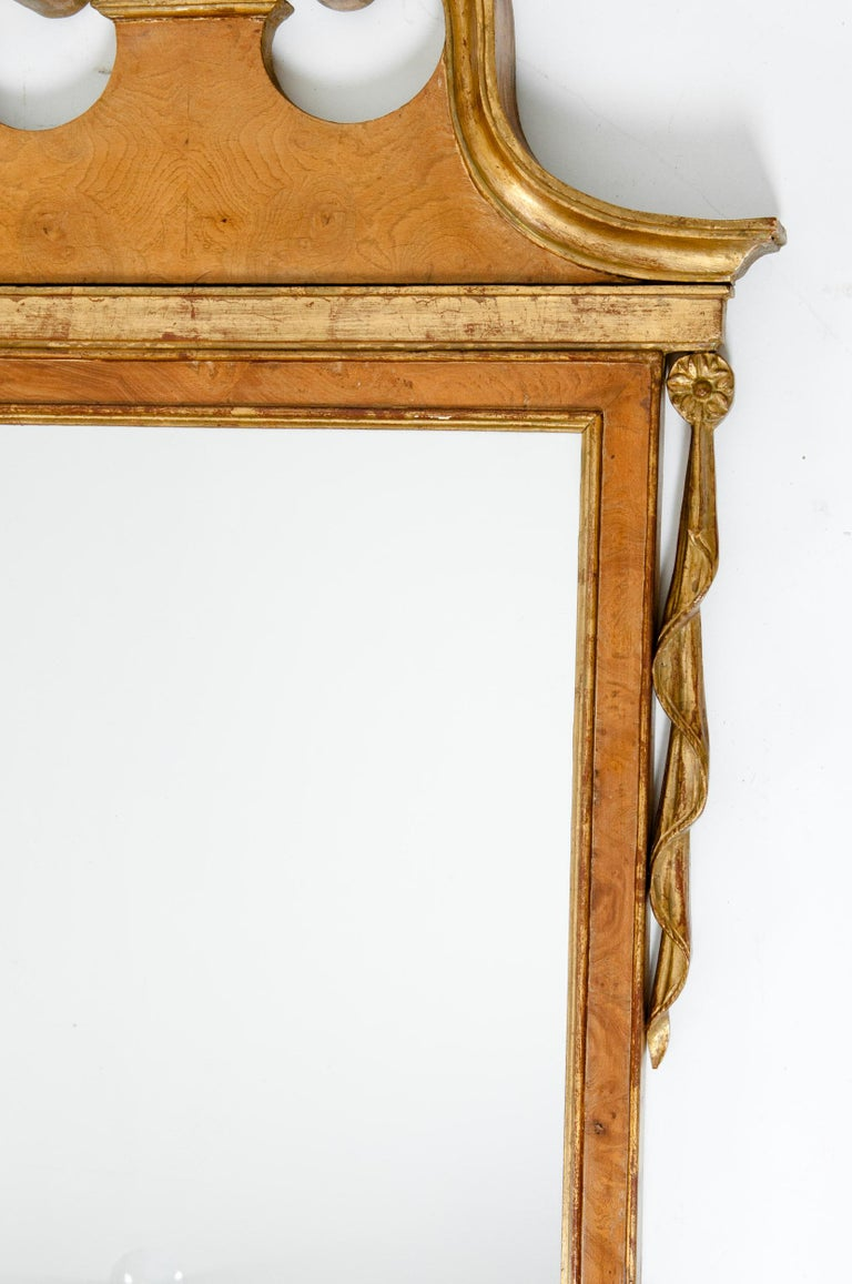 Brass Burlwood / Gilt Gold Frame Pair of Beveled Hanging Wall Mirror For Sale