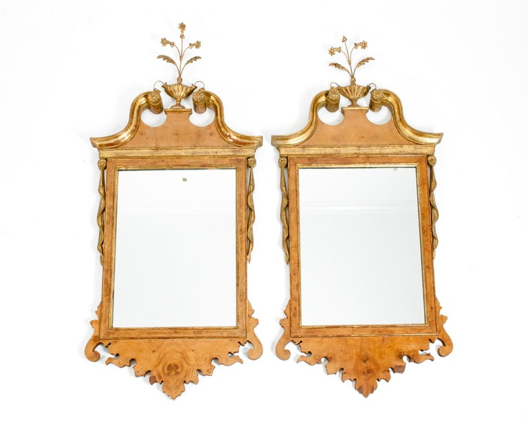 Burlwood / Gilt Gold Frame Pair of Beveled Hanging Wall Mirror For Sale 3