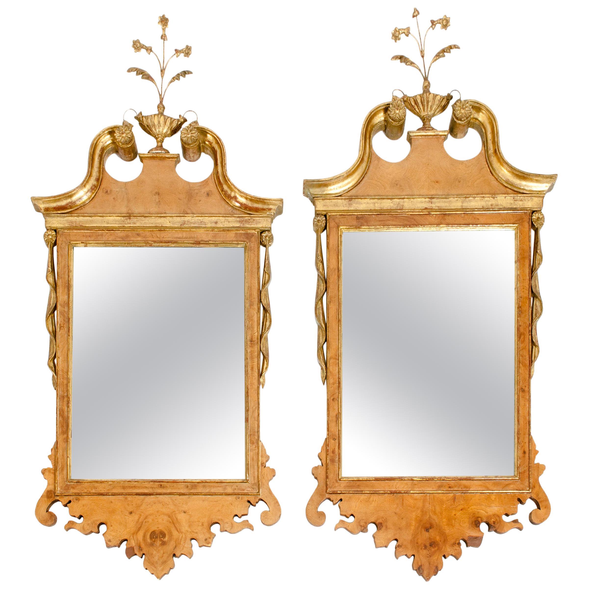 Burlwood / Gilt Gold Frame Pair of Beveled Hanging Wall Mirror