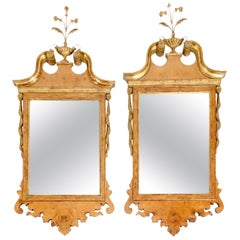 Burlwood / Gilt Gold Frame Pair of Beveled Hanging Wall Mirror