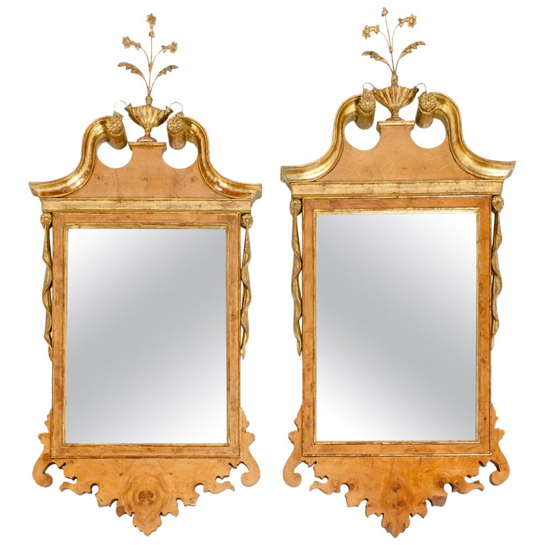 Burlwood / Gilt Gold Frame Pair of Beveled Hanging Wall Mirror For Sale