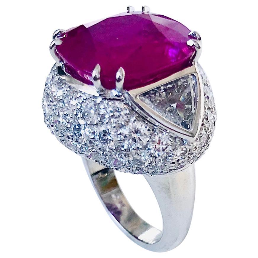 Burma 14.83 Carat Corundum in Platinum Diamond Ring