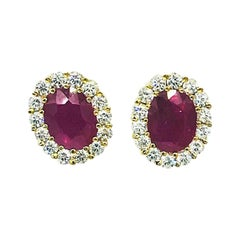 Burma 2.60 Carat Ruby Halo Diamond 18 Karat Earrings 3.60 Carat Total Weight