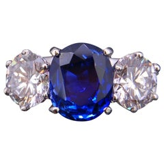 Burma Blue Sapphire and Diamond Three-Stone Ring Certificated