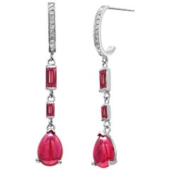 Burma Cabochon Ruby and Diamond Gold Hoop Drop Earrings