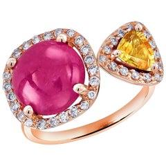 Burma Cabochon Ruby Diamond Yellow Sapphire Open Shank Cocktail Ring