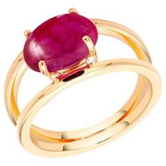 Burma Cabochon Ruby Split Shank Eighteen Karat Yellow Gold Ring