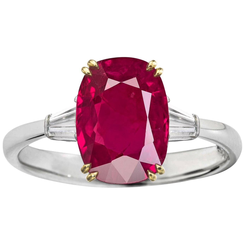 Burma Deep Red No Heat Cushion Cut 4 Carat Ruby Diamond Ring