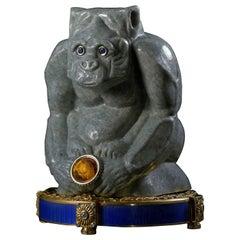 Burma Jadeite 18K Yellow Gold Sapphires Citrine Guilloche Enamel Jade Sculpture