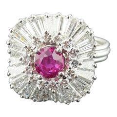 Burma, No Heat 0.95 Carat Ruby and Diamond Ring Set in Platinum