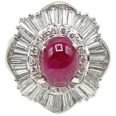 Burma No Heat GIA Certified Star Ruby Diamond Platinum Ring