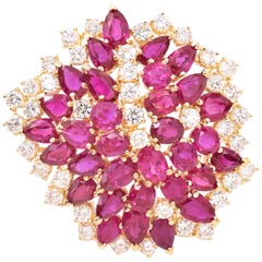 """Burma No Heat"" Ruby and Diamond Brooch"