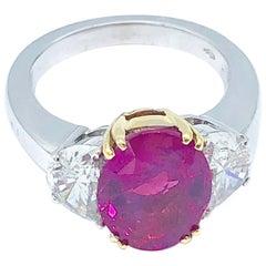 Burma No Heat Ruby and Diamond Ring