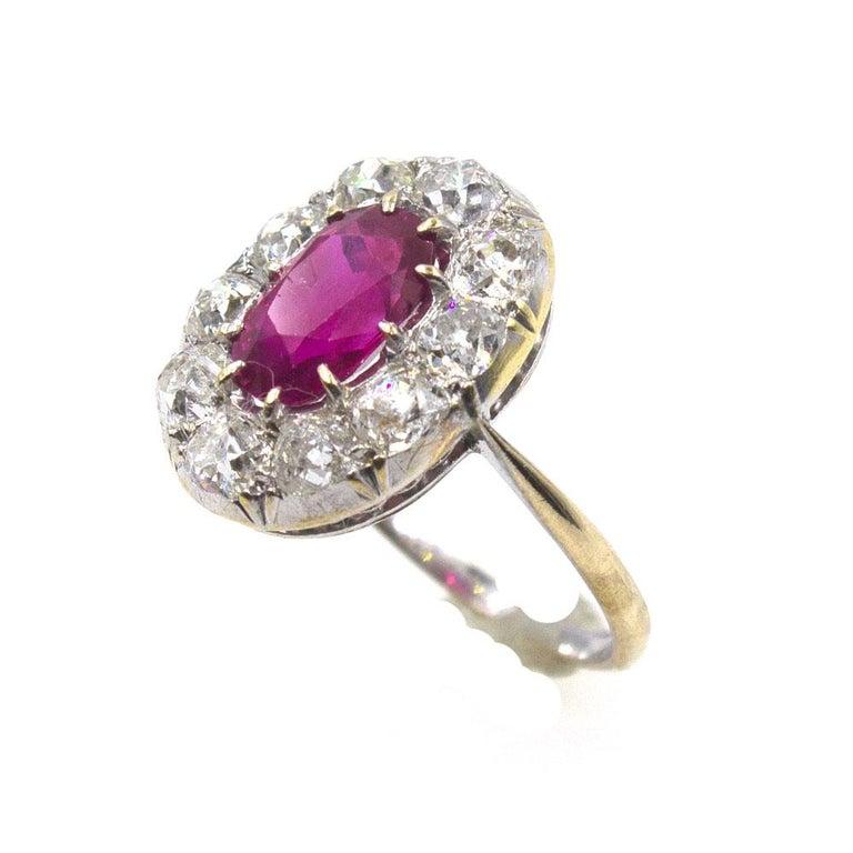 Late Victorian Burma No Heat Ruby Diamond Antique Ring