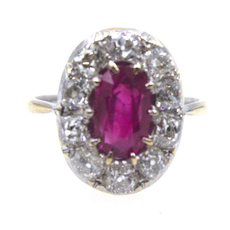 Old Mine Cut Burma No Heat Ruby Diamond Antique Ring