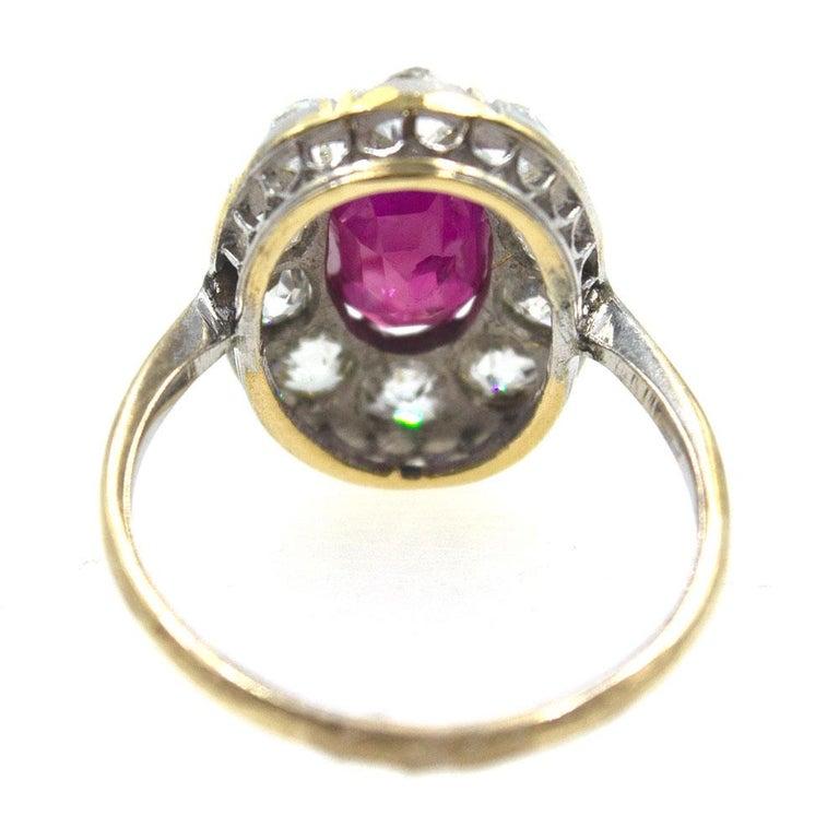 Burma No Heat Ruby Diamond Antique Ring In Excellent Condition In Boca Raton, FL