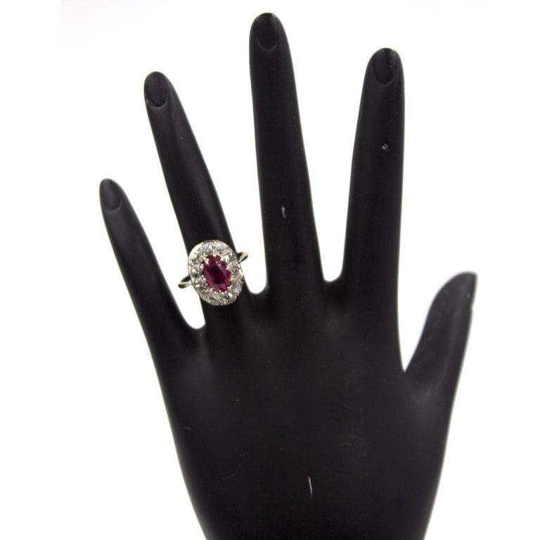 Women's Burma No Heat Ruby Diamond Antique Ring