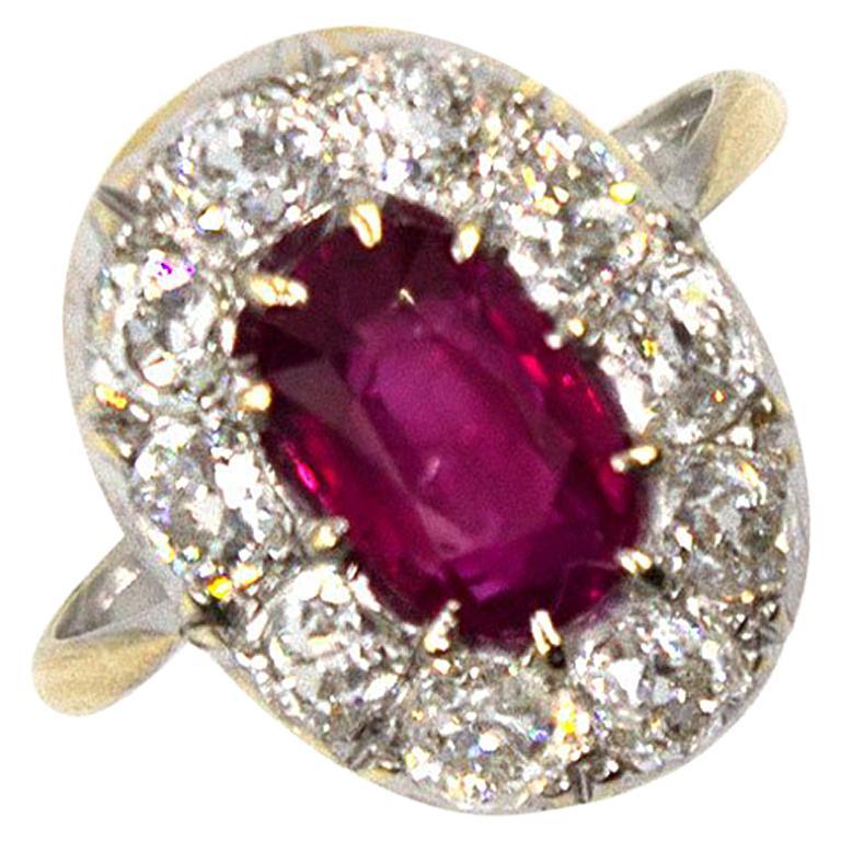 Burma No Heat Ruby Diamond Antique Ring