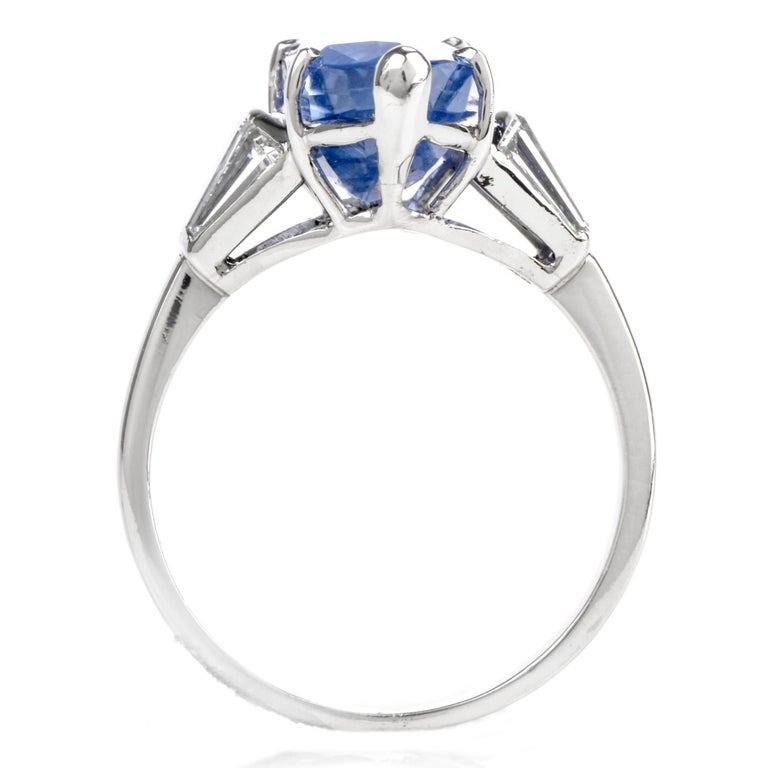 Women's Burma No Heat Sapphire AGL Diamond Platinum Marquise Ring For Sale