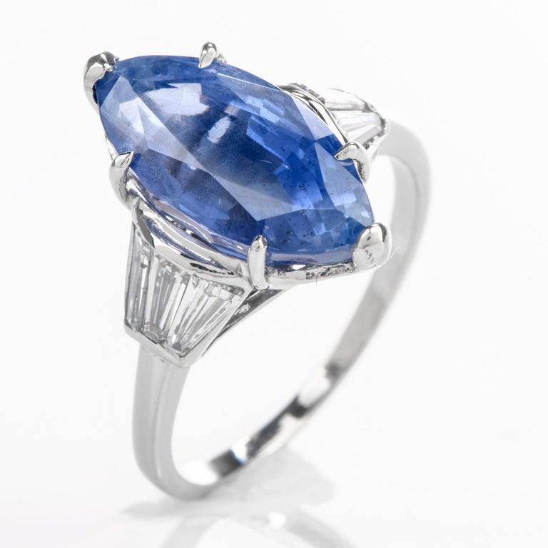 Burma No Heat Sapphire AGL Diamond Platinum Marquise Ring For Sale 1