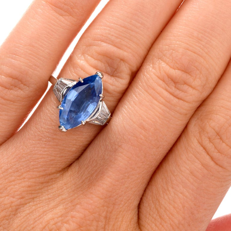 Burma No Heat Sapphire AGL Diamond Platinum Marquise Ring For Sale 2