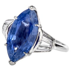 Burma No Heat Sapphire AGL Diamond Platinum Marquise Ring
