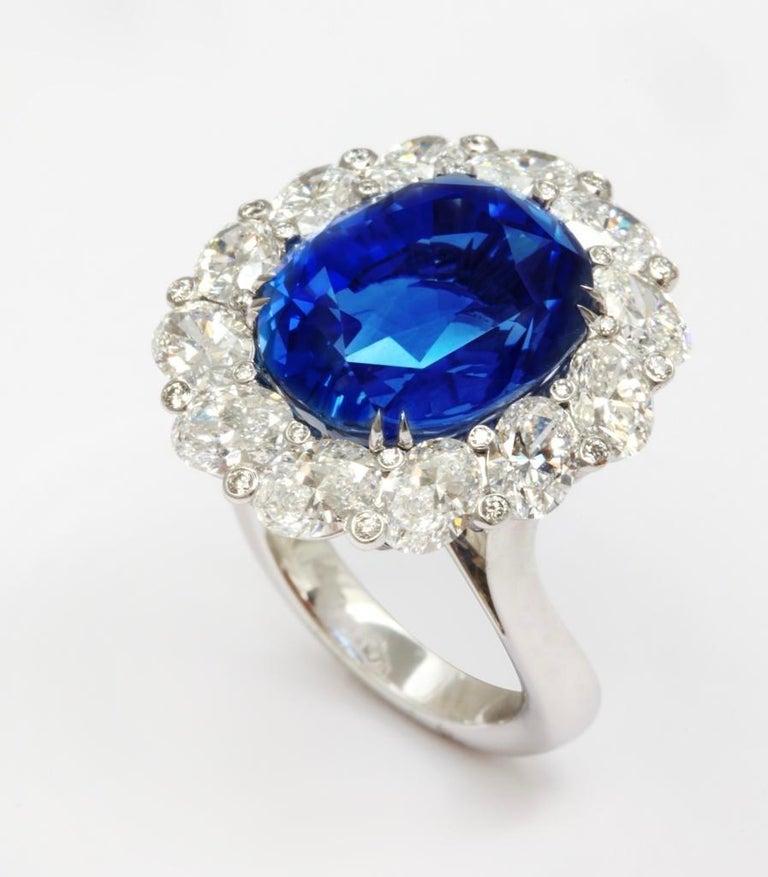 Contemporary Burma No Heat 15.38 carat Sapphire Diamond Ring For Sale