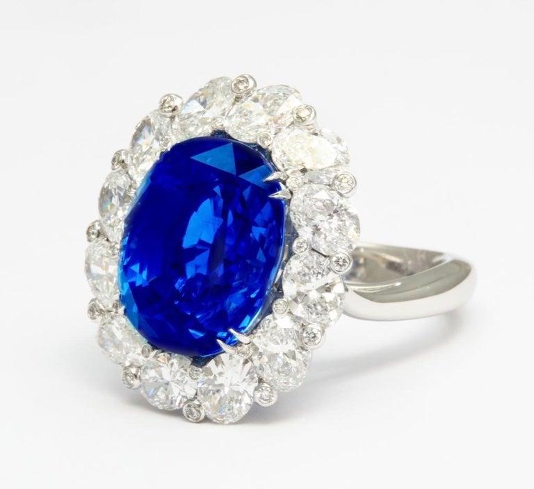 Oval Cut Burma No Heat 15.38 carat Sapphire Diamond Ring For Sale