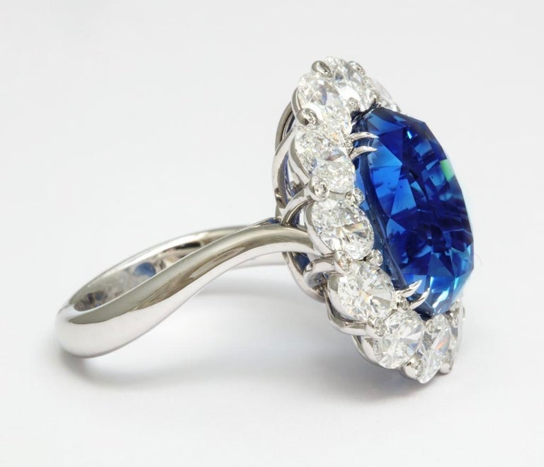 Burma No Heat 15.38 carat Sapphire Diamond Ring In New Condition For Sale In Bal Harbour, FL