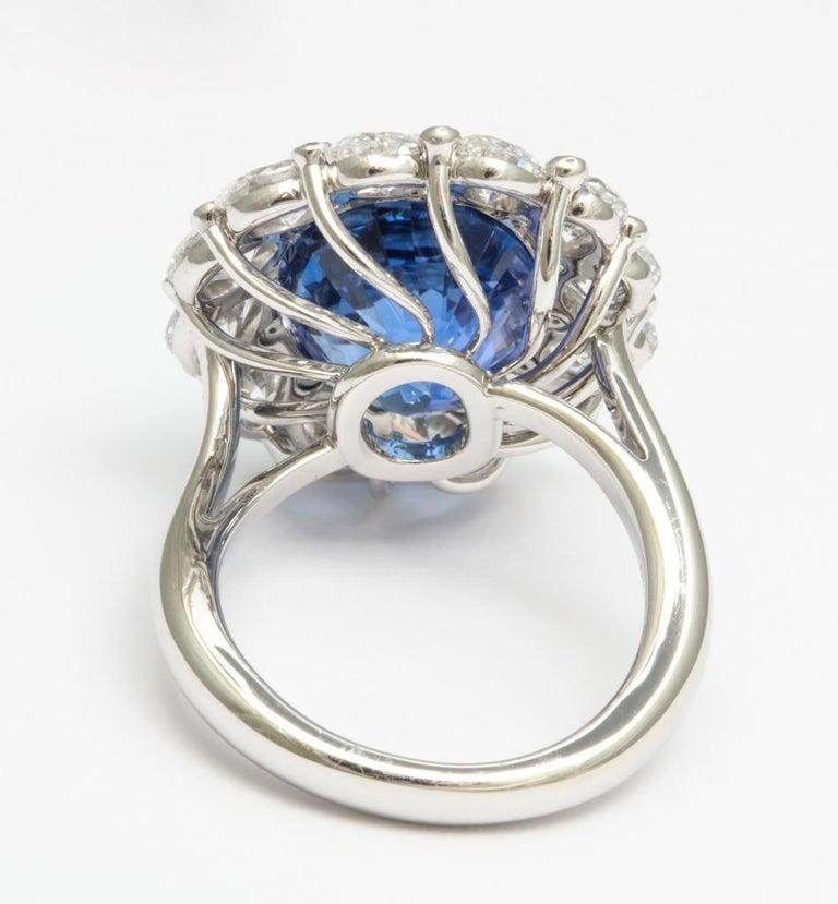 Women's or Men's Burma No Heat 15.38 carat Sapphire Diamond Ring For Sale