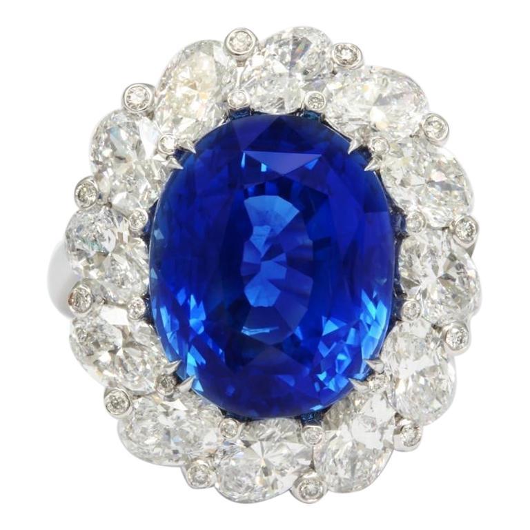 Burma No Heat 15.38 carat Sapphire Diamond Ring For Sale