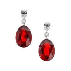 Burma No Heat Spinel and Diamond Platinum Earrings