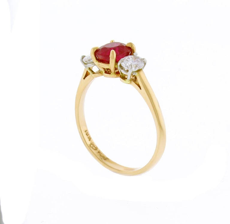 Oval Cut Burma Non Heated Ruby and Diamond Three-Stone Ring For Sale