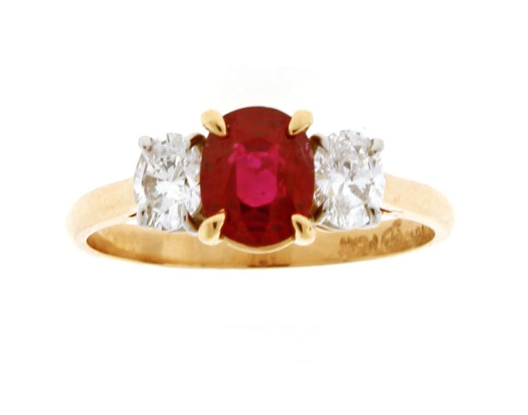 Burma Non Heated Ruby and Diamond Three-Stone Ring In New Condition For Sale In Bethesda, MD