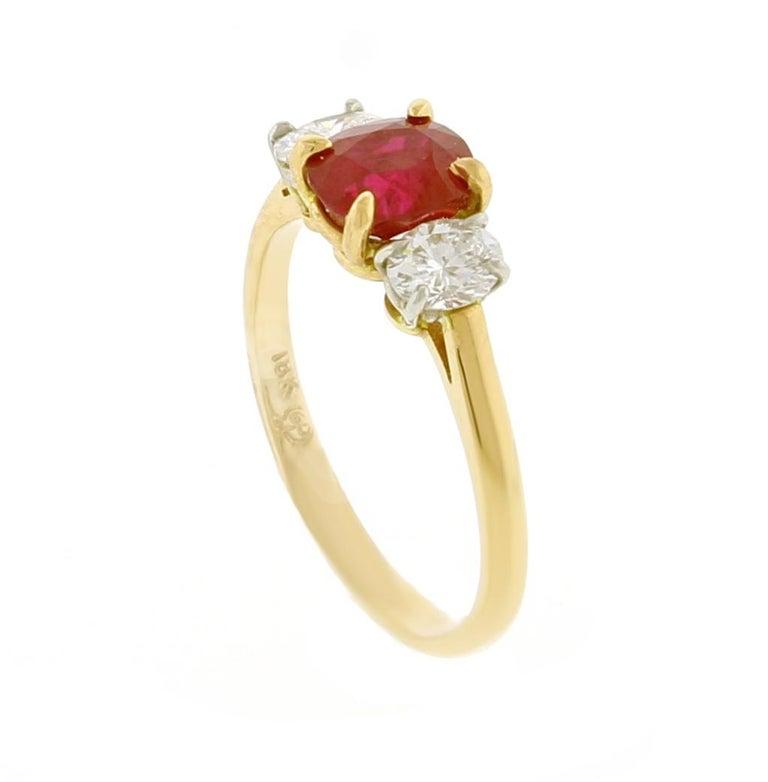 Women's or Men's Burma Non Heated Ruby and Diamond Three-Stone Ring For Sale