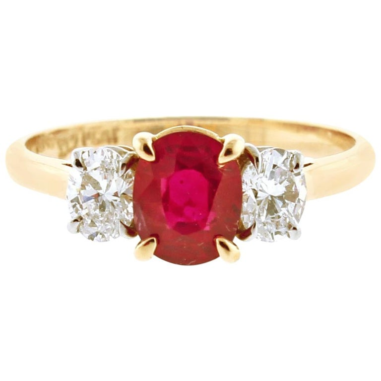 Burma Non Heated Ruby and Diamond Three-Stone Ring For Sale