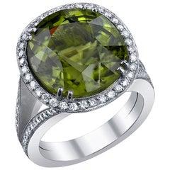 Burma Peridot and Diamond Ring