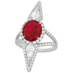 Burma Pigeon-Blood Ruby and Diamond Ring, 3.16 Carat