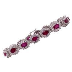 "Burma ""Pigeon's Blood"" Ruby Diamond 14 Karat White Gold Estate Bracelet GIA Cert"