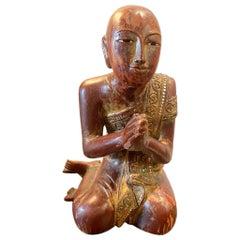 Burma Praying Monk Statue