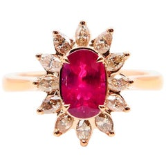 Burma Ruby 1.14 Carat and Marquise Diamond Flower Cocktail Ring, 18 Karat Gold