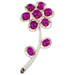Burma Ruby 26.48 Carat and Diamond Brooch, Statement Piece
