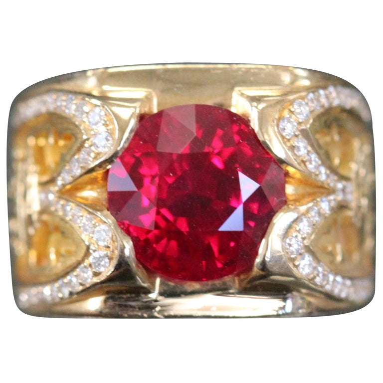 Custom Burma Ruby Ring: Burma Ruby 4.02 Carat Pigeon Blood Certified, Ben Dannie