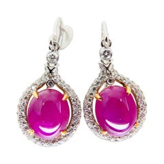 Burma Ruby 4.98 Carat and Diamond Earrings, 18 Karat White Gold