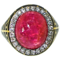 Burma Ruby, AGL Certified Unheated, and Diamond Antique Ring