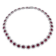 AGL Certified Burmese Ruby Diamond Necklace