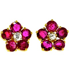 Burma Ruby and Diamond Earrings by Pierre/Famille