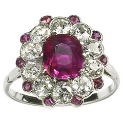 Burma Ruby and Diamond Platinum Cluster Ring